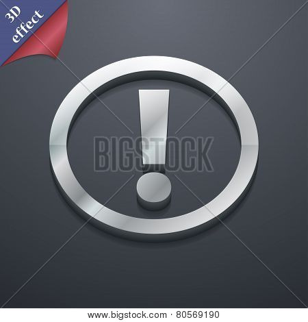 Attention Icon Symbol. 3D Style. Trendy, Modern Design With Space For Your Text Vector