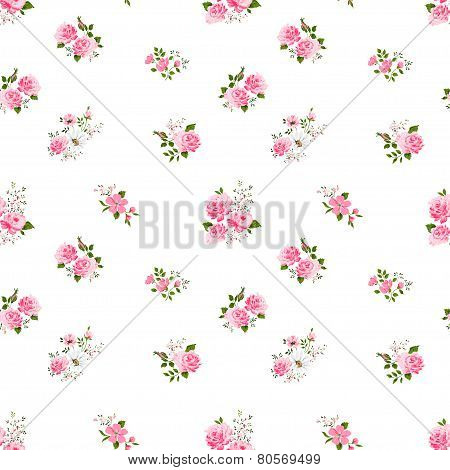 seamless cute vintage rose flower pattern on white background