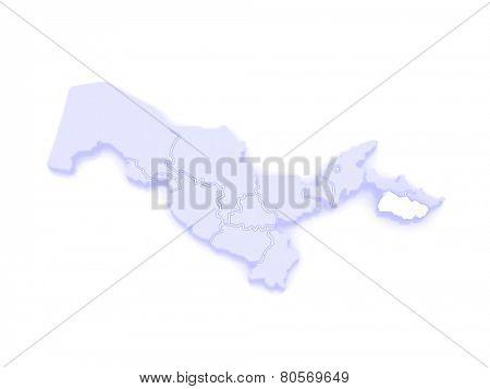 Map of Fergana region. Uzbekistan. 3d