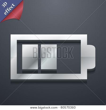 Battery Half Level Icon Symbol. 3D Style. Trendy, Modern Design With Space For Your Text Vector