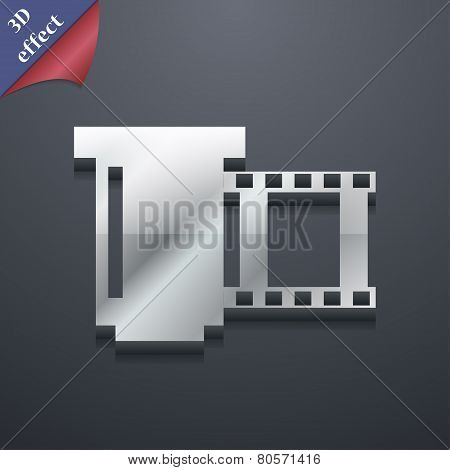 Negative Films Icon Symbol. 3D Style. Trendy, Modern Design With Space For Your Text Vector