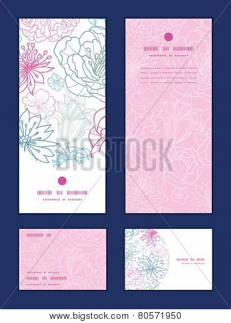 Vector gray and pink lineart florals vertical frame pattern invitation greeting, RSVP and thank you