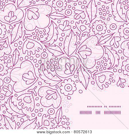 Vector pink flowers lineart frame corner pattern background