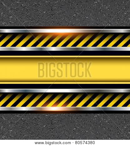 Background with warning stripes on vector asphalt texture.