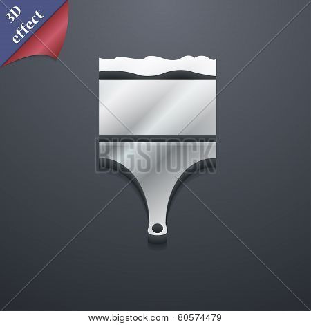 Paint Brush Icon Symbol. 3D Style. Trendy, Modern Design With Space For Your Text Vector