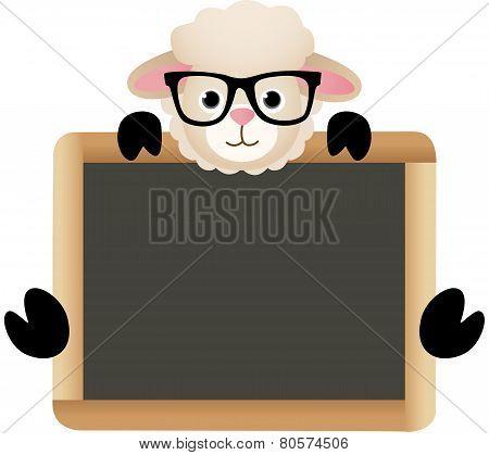 Cute Sheep with School Board