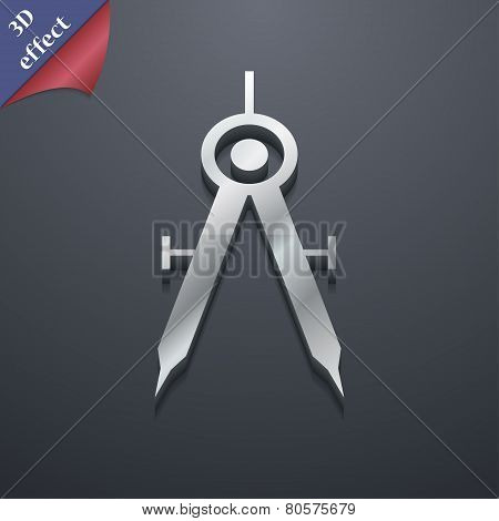 Mathematical Compass Icon Symbol. 3D Style. Trendy, Modern Design With Space For Your Text Vector