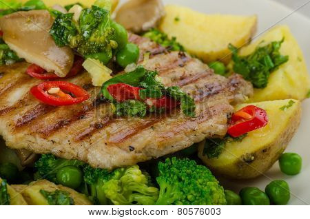 Healthy Pork Escalope With Super Greens