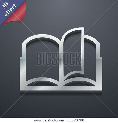 Open Book Icon Symbol. 3D Style. Trendy, Modern Design With Space For Your Text Vector