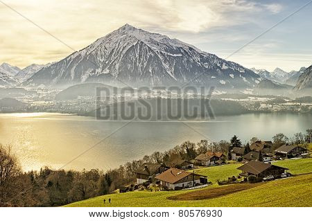 Swiss Rural Landscape Near Thun Lake At Sunshine