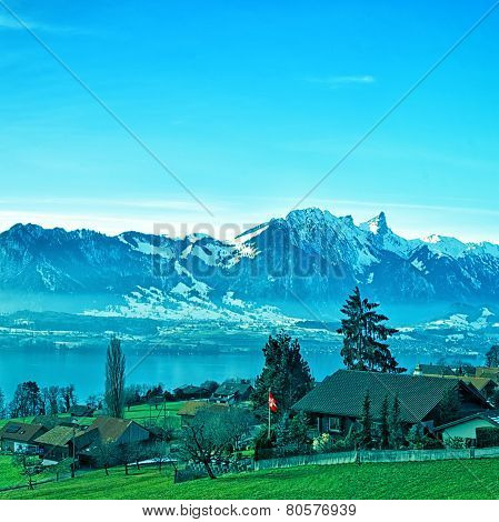 Swiss Rural Landscape Near Thun Lake