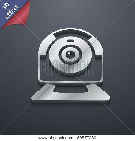 Webcam Icon Symbol. 3D Style. Trendy, Modern Design With Space For Your Text Vector