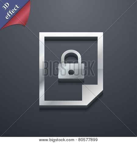 File Locked Icon Symbol. 3D Style. Trendy, Modern Design With Space For Your Text Vector