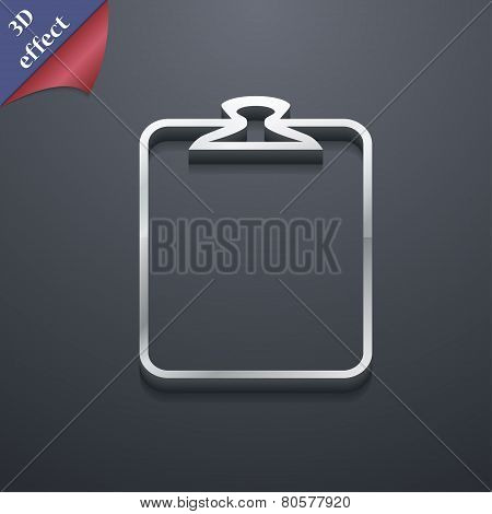 Paper Clip Icon Symbol. 3D Style. Trendy, Modern Design With Space For Your Text Vector