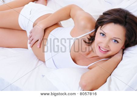 Beautiful Happy Smiling Pregnant Woman
