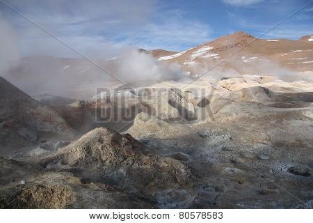 Sulphuric acid pools in Altiplano of Bolivia