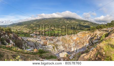 Stone Quarry In The Mountains. Heavy Industry.