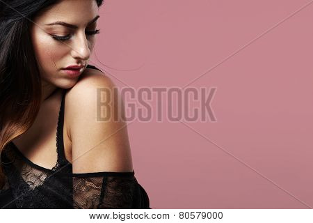 Beauty Woman On A Pink Background