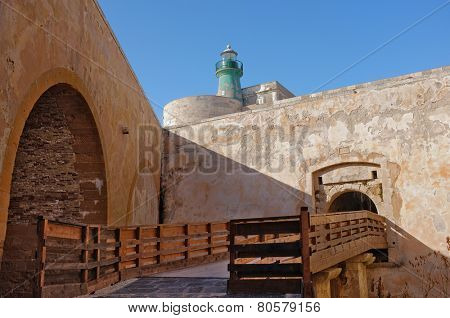 lighthouse in Castle Maniace of Ortigia Old Town, Sicily