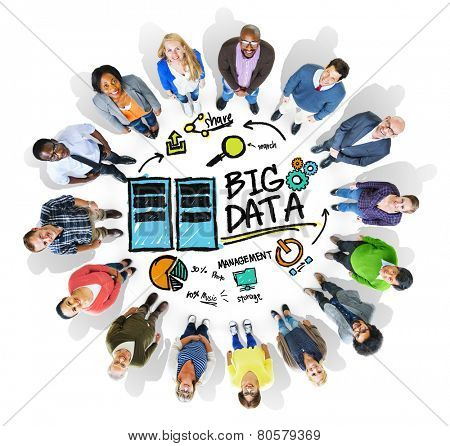 Multi Ethnic Group Cheerful Big Data Management Concept
