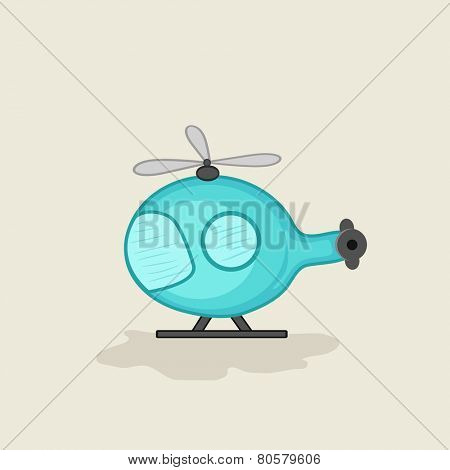 Helicopter toy for kids on beige background.