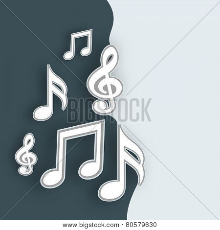 Musical notes on stylish background.