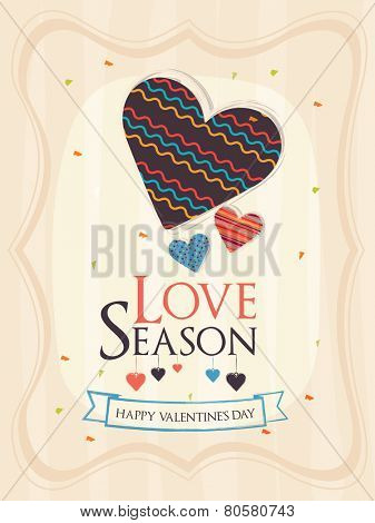 Elegant love card design with creative heart shape for Happy Valentines Day celebration.