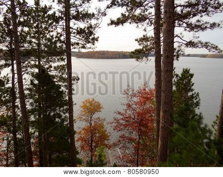 Autumn View Of A Lake And Island