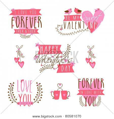 Beautiful typographic collection for Happy Valentines Day celebration.