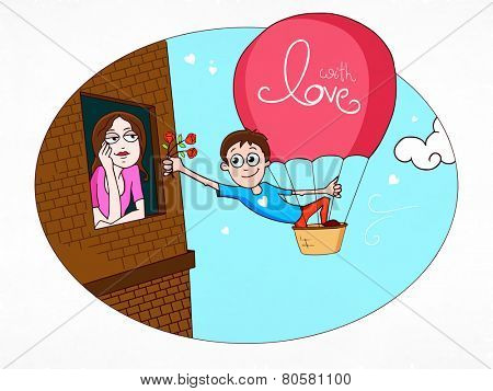 Cute boy giving red flowers to his beloved from window on occasion of Happy Valentine's Day.