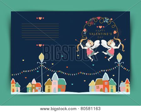 Happy Valentines Day celebration greeting card design with cupids and colorful huts on blue background.