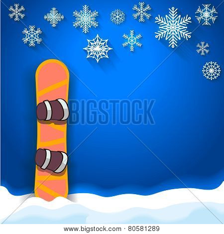 winter sports poster background with snowboard