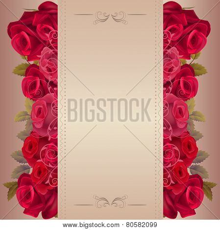 Floral background with red roses