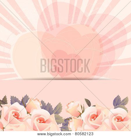Pastel greeting card with pink roses