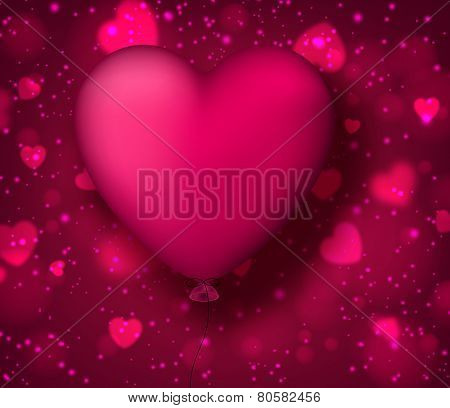 Vector illustration of magenta balloon heart. Abstract background. Classical smooth style.