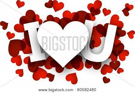 White I love u sign over red hearts. Vector holiday illustration.