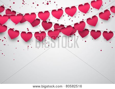 Celebrate banner. Love party heart flags with confetti. Vector illustration.