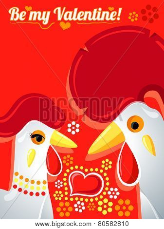 Valentine card with Rooster and Hen in love
