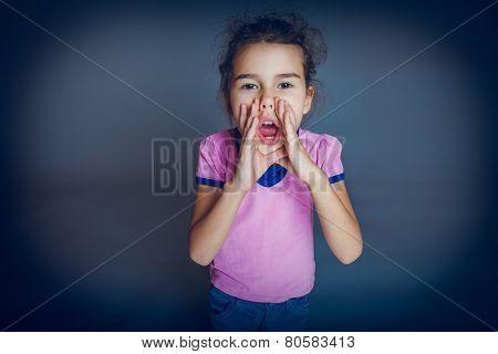 Girl Child Teen 7 years, European appearance brunette cries lean