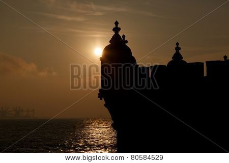 Europe, Portugal, Lisbon-silhouette of Belem Tower detail  at sunset, Lisbon landmark