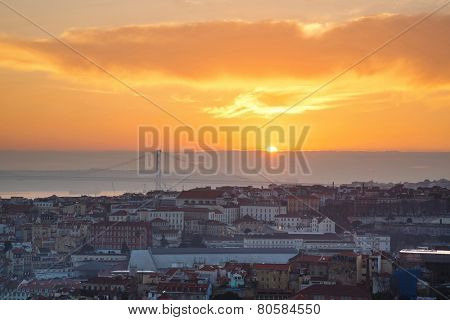 Portugal, Europe - Viewpoint of Lisbon downtown at sunset, with bridge over tagus river - HDR Composite
