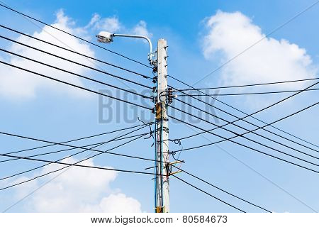 Electricity Power Wire And Street Lamp