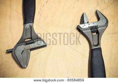 Tools set in vintage picture style . set of hand tools on a wooden background