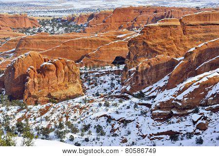 Devil's Garden In Arches National Park, Utah In Winter