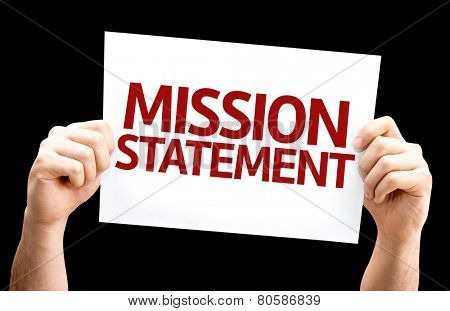 Mission Statement card isolated on black background