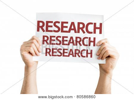 Research card isolated on white background