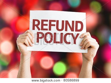 Refund Policy card with colorful background with defocused lights