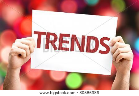 Trends card with colorful background with defocused lights