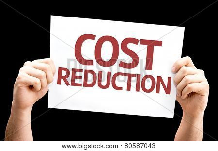 Cost Reduction card isolated on black background
