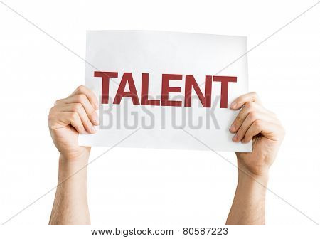 Talent card isolated on white background